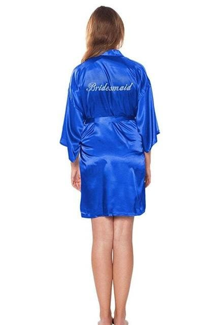 Fashion Silk Bridesmaid Bride Robe Sexy Women Short Satin Wedding Kimono Robes Sleepwear Nightgown As the photo show 11 / S