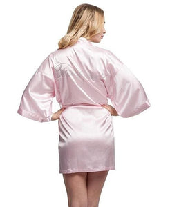 Fashion Silk Bridesmaid Bride Robe Sexy Women Short Satin Wedding Kimono Robes Sleepwear Nightgown As the photo show 14 / S