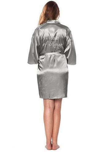 Fashion Silk Bridesmaid Bride Robe Sexy Women Short Satin Wedding Kimono Robes Sleepwear Nightgown As the photo show 7 / S