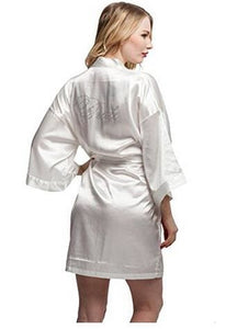 Fashion Silk Bridesmaid Bride Robe Sexy Women Short Satin Wedding Kimono Robes Sleepwear Nightgown As the photo show 15 / S