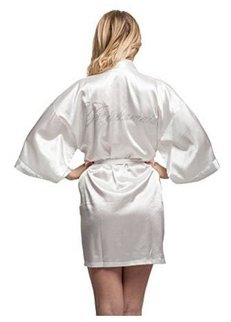 Fashion Silk Bridesmaid Bride Robe Sexy Women Short Satin Wedding Kimono Robes Sleepwear Nightgown As the photo show 20 / S