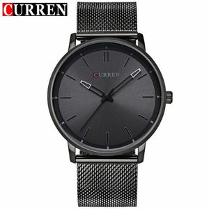 Fashion Top Luxury brand CURREN Watches men Stainless Steel Mesh strap Quartz-watch Ultra Thin Dial Red