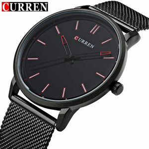 Fashion Top Luxury brand CURREN Watches men Stainless Steel Mesh strap Quartz-watch Ultra Thin Dial