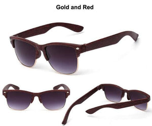 Fashion Vintage Sunglasses Women Men Brand Designer Hlaf Fake Wood Wrap Gold Silver Metal Frame