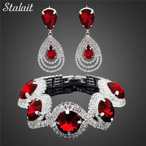 Fashion Wedding Bridal Jewelry Sets For Women Rhinestone Austrian Crystal Jewelry Set Bracelet - MBMCITY