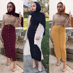 Fashion Womens Skirt Muslim Bottoms Long Skirts Knitted Cotton Pencil Skirt Ramadan Party Worship