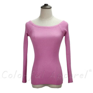 Fatika Autumn And Winter Basic Women Sweater Slit Neckline Strapless Sweater Thickening Sweater Off Pea Pink / One Size