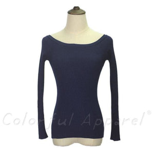 Fatika Autumn And Winter Basic Women Sweater Slit Neckline Strapless Sweater Thickening Sweater Off Deep Blue / One Size