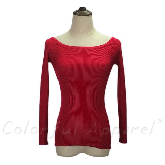 Fatika Autumn And Winter Basic Women Sweater Slit Neckline Strapless Sweater Thickening Sweater Off Wine Red / One Size