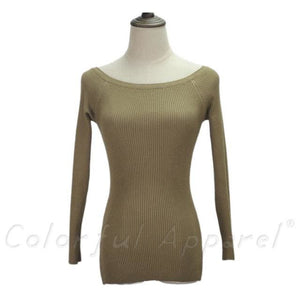 Fatika Autumn And Winter Basic Women Sweater Slit Neckline Strapless Sweater Thickening Sweater Off Khaki / One Size