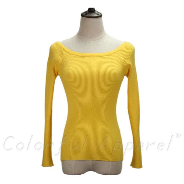 Fatika Autumn And Winter Basic Women Sweater Slit Neckline Strapless Sweater Thickening Sweater Off Yellow / One Size