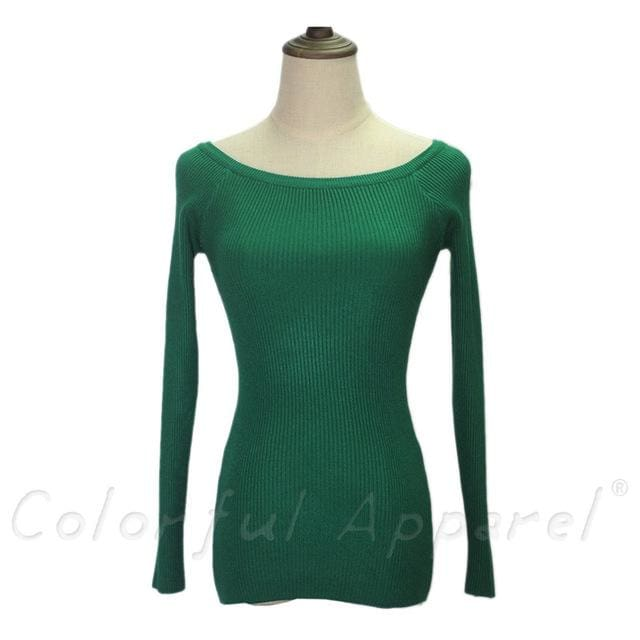 Fatika Autumn And Winter Basic Women Sweater Slit Neckline Strapless Sweater Thickening Sweater Off Dark Green / One Size