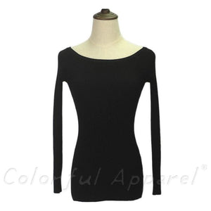 Fatika Autumn And Winter Basic Women Sweater Slit Neckline Strapless Sweater Thickening Sweater Off Black / One Size