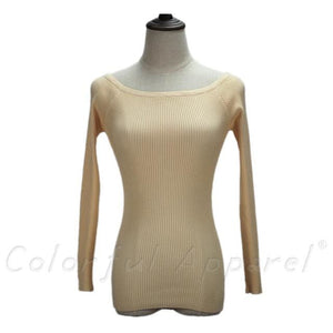 Fatika Autumn And Winter Basic Women Sweater Slit Neckline Strapless Sweater Thickening Sweater Off Beige / One Size