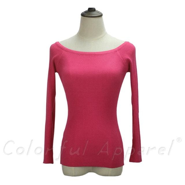 Fatika Autumn And Winter Basic Women Sweater Slit Neckline Strapless Sweater Thickening Sweater Off Rose / One Size
