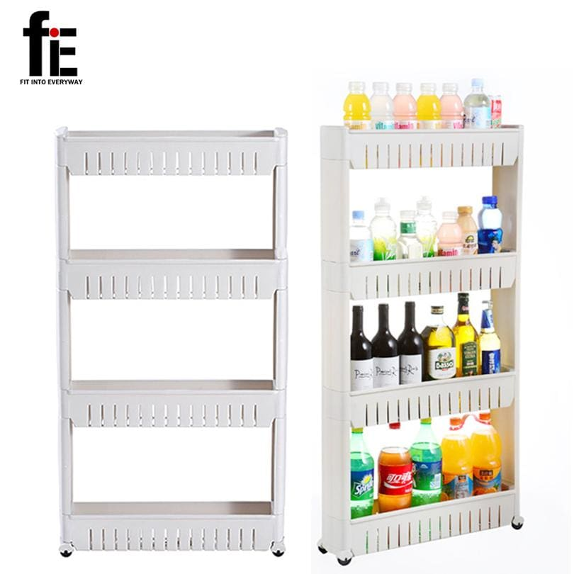 fiE Multipurpose Shelf with Removable Wheels Crack Rack Bathroom Storage Storage Rack Shelf