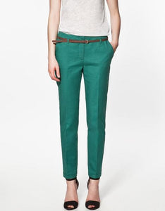 Finalfit Pencil Casual Pants Women Spring Summer&autumn Trousers With Belt Green Ship In 3 Days / S