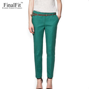 Finalfit Pencil Casual Pants Women Spring Summer&autumn Trousers With Belt