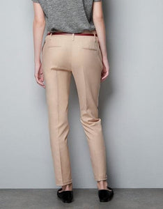 Finalfit Pencil Casual Pants Women Spring Summer&autumn Trousers With Belt Apricot With Belt / S