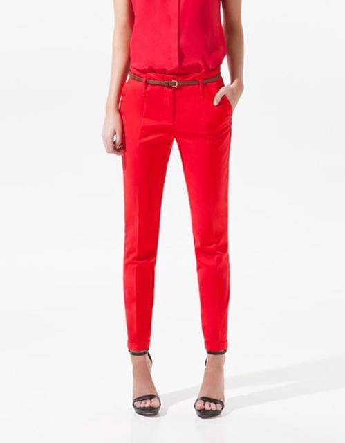 Finalfit Pencil Casual Pants Women Spring Summer&autumn Trousers With Belt Orange Red / S