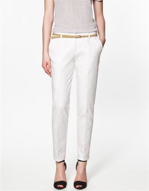 Finalfit Pencil Casual Pants Women Spring Summer&autumn Trousers With Belt White Ship In 3 Days / S