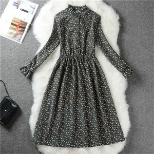 Floral Print Style Slim Cute Stand Collar Single Breasted Pleated Dress Women Vintage Autumn Winter - MBMCITY