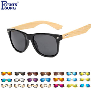 Foenixsong Brand New Designer Womens Sunglasses Bamboo Grain Frame Sun Glasses For Men Oculos De Sol