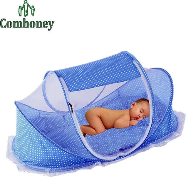 Foldable Newborn Baby Cribs Baby Bed With Pillow Mat Portable Folding Crib With Netting Infant - MBMCITY