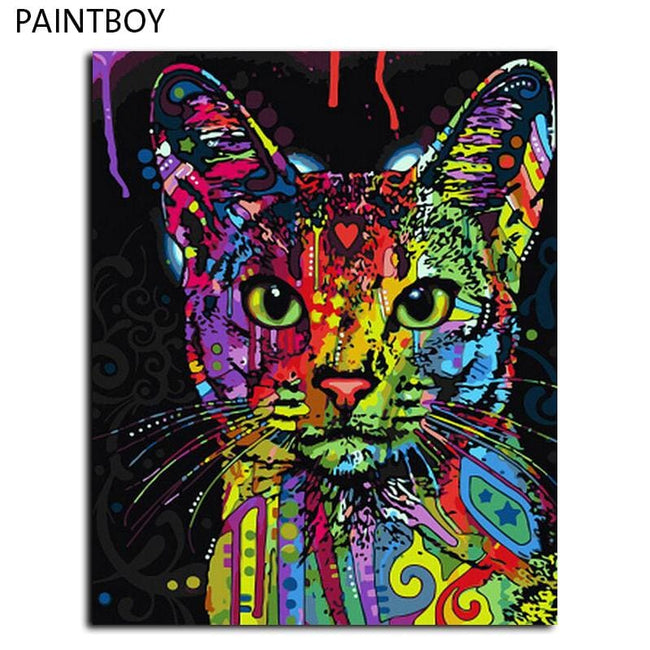 Framed Picture Painting By Numbers Abstract Animal Cat DIY Oil Painting On Canvas Home Decoration - MBMCITY