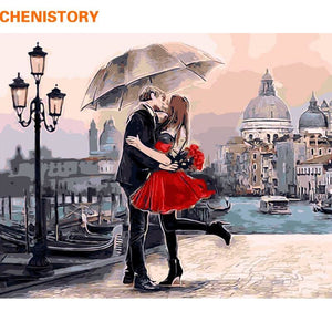 Framed Romantic Kiss Lover Diy Painting By Numbers Landscape Acrylic Picture Wall Art Hand Painted
