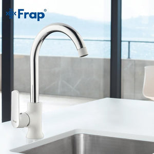 Frap Newly arrived Modern fashion style brass kitchen faucet Optional 3-color 360 degree rotation