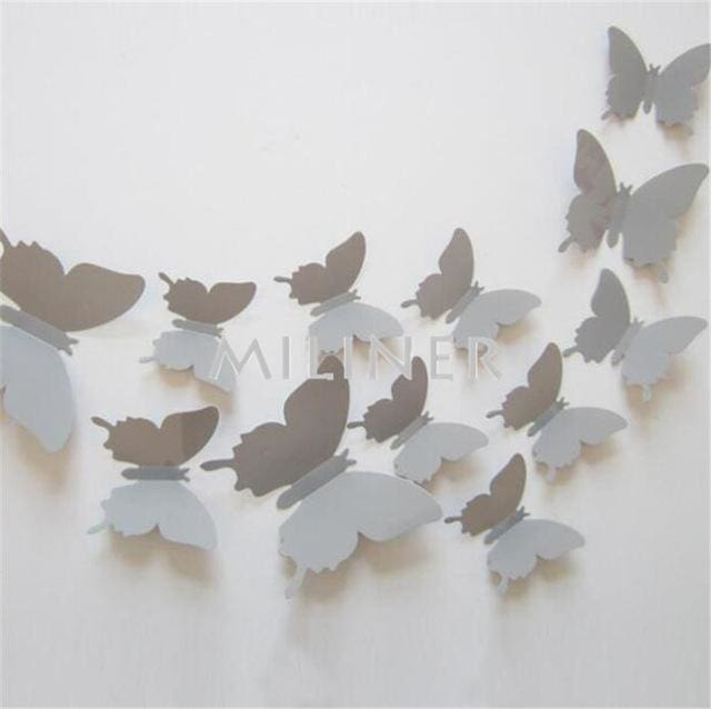 Free shipping 12pcs PVC 3d Butterfly wall decor cute Butterflies wall stickers art Decals home