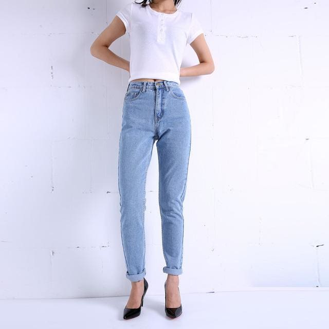 Free shipping 2016 New Slim Pencil Pants Vintage High Waist Jeans new womens pants full length blue / 25 / China