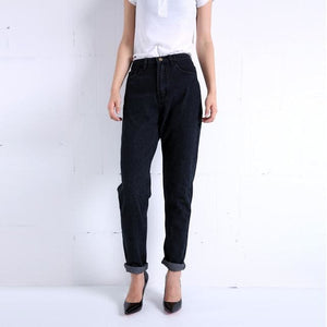 Free shipping 2016 New Slim Pencil Pants Vintage High Waist Jeans new womens pants full length Black / 25 / China