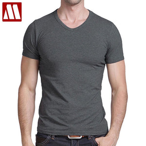 Free Shipping 2018 summer Hot Sale Cotton T shirt mens casual short sleeve V-neck T-shirts