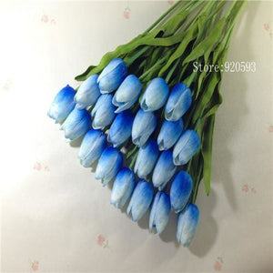 Free Shipping 31Pcs/lot Pu Mini Tulip Flower Real Touch Wedding Flower Bouquet Artificial Silk Blue