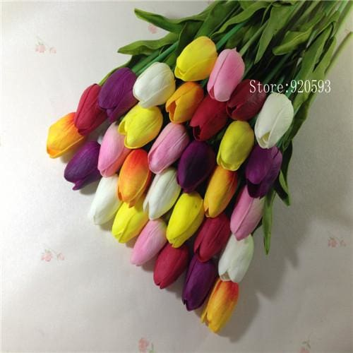 Free Shipping 31Pcs/lot Pu Mini Tulip Flower Real Touch Wedding Flower Bouquet Artificial Silk 6 Colors Mix