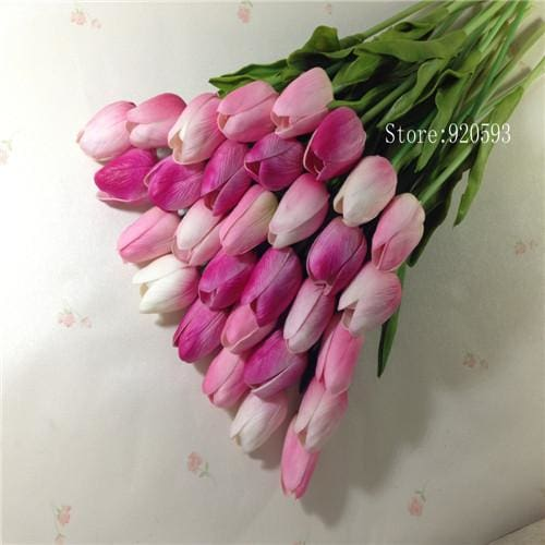 Free Shipping 31Pcs/lot Pu Mini Tulip Flower Real Touch Wedding Flower Bouquet Artificial Silk Mix Pink