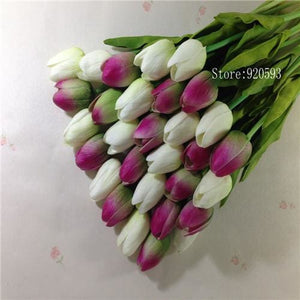 Free Shipping 31Pcs/lot Pu Mini Tulip Flower Real Touch Wedding Flower Bouquet Artificial Silk White Green