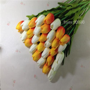 Free Shipping 31Pcs/lot Pu Mini Tulip Flower Real Touch Wedding Flower Bouquet Artificial Silk White Orange