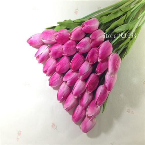 Free Shipping 31Pcs/lot Pu Mini Tulip Flower Real Touch Wedding Flower Bouquet Artificial Silk Pink A