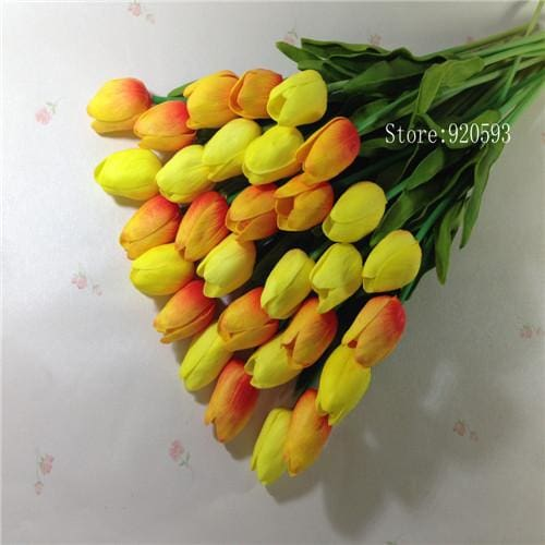 Free Shipping 31Pcs/lot Pu Mini Tulip Flower Real Touch Wedding Flower Bouquet Artificial Silk Orange Yellow