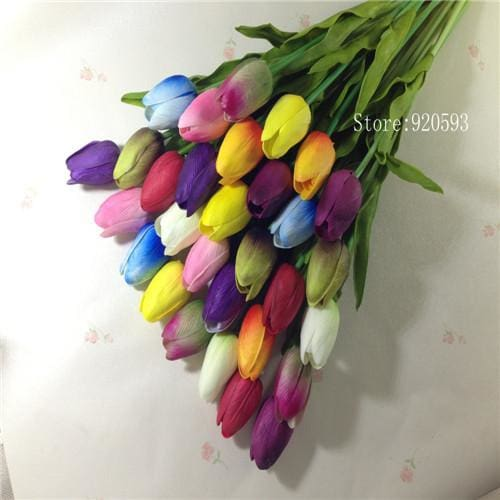 Free Shipping 31Pcs/lot Pu Mini Tulip Flower Real Touch Wedding Flower Bouquet Artificial Silk Mix Colors 1