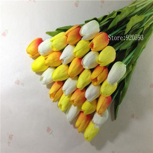 Free Shipping 31Pcs/lot Pu Mini Tulip Flower Real Touch Wedding Flower Bouquet Artificial Silk White Orange Yellow