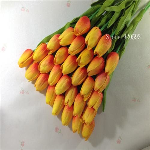 Free Shipping 31Pcs/lot Pu Mini Tulip Flower Real Touch Wedding Flower Bouquet Artificial Silk Orange