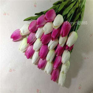Free Shipping 31Pcs/lot Pu Mini Tulip Flower Real Touch Wedding Flower Bouquet Artificial Silk White Pink A