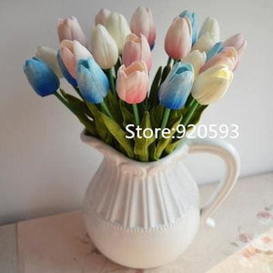 Free Shipping 31Pcs/lot Pu Mini Tulip Flower Real Touch Wedding Flower Bouquet Artificial Silk Mix Colors 2
