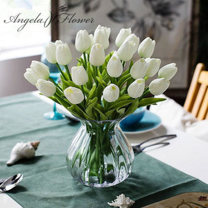Free shipping 31PCS/LOT pu mini tulip flower real touch wedding flower bouquet artificial silk