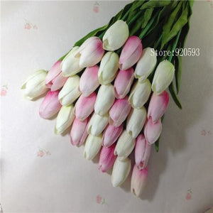 Free Shipping 31Pcs/lot Pu Mini Tulip Flower Real Touch Wedding Flower Bouquet Artificial Silk Pink B