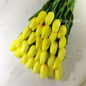 Free Shipping 31Pcs/lot Pu Mini Tulip Flower Real Touch Wedding Flower Bouquet Artificial Silk Yellow